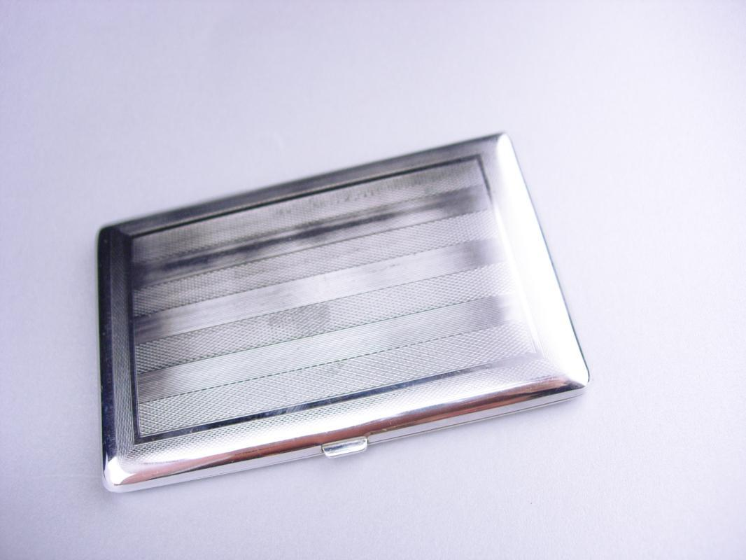 Vintage silver Cigarette case /  engine turned stripes / deco style / Cavalla Cigarette case / mens womens accessory / silver hinged case