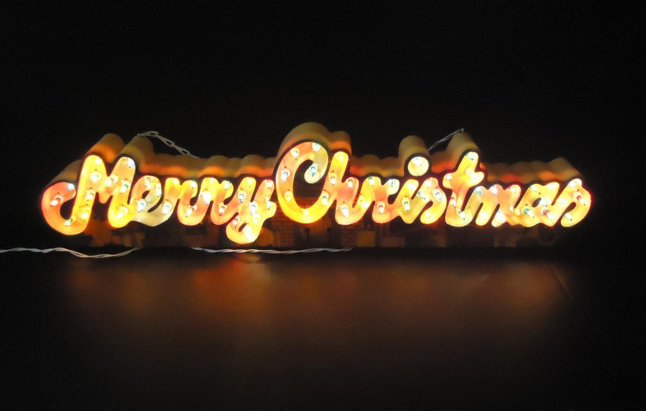 Vintage animated Merry Christmas sign / 3 stages of lights / hanging Christmas decoration / electric store sign / window decoration