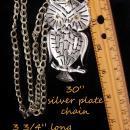 HUGE owl necklace / vintage rhinestone bird / silver bird / Figural costume jewelry / teacher gift / ophthalmology ophthalmologist gift