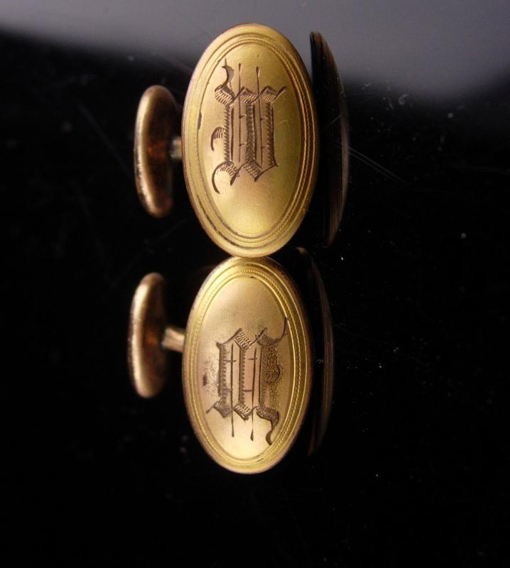 Antique Victorian Cufflinks / yellow and rose gold plated / Monogrammed MM or ww or MW or wm / Signed hayward/ letter initial jewelry