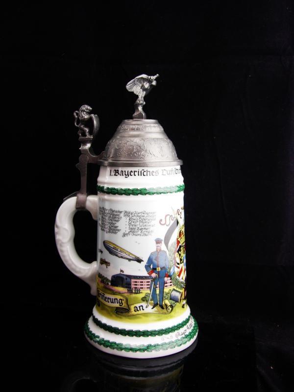 Vintage Lithopane Stein / German Regimental Eagle and lion /  soldier Beer Stein / lidded stein 10 1/2