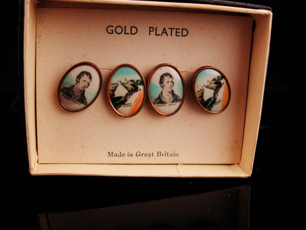 Antique Cufflinks / Scottish Poet / Portrait set / Robert Burns / rare unique gift / author gift / writer actor theater boutons de manchette