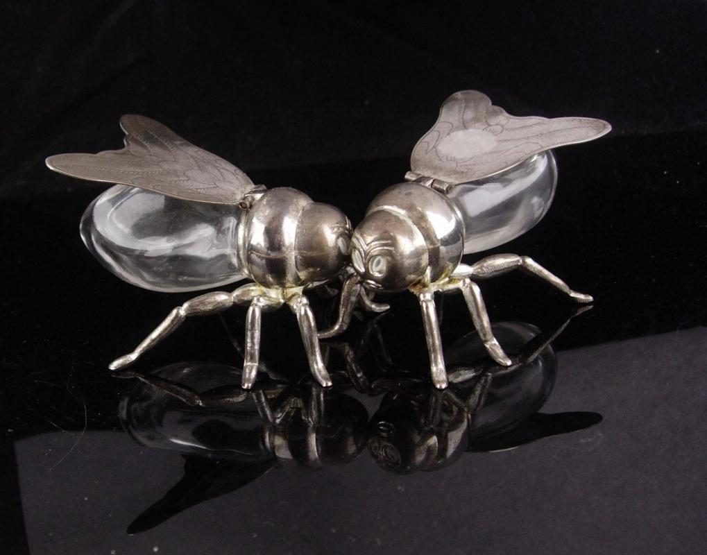 Vintage BIZARRE Salt Pepper shakers / mechanical fly / godinger bee / insect set / figural novelty silver set /  Seabee navy / Gardener gift