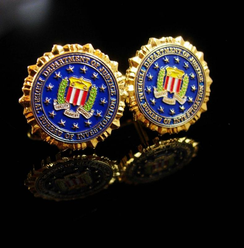 Vintage FBI Cufflinks / Federal Bureau of Investigation  / blue Cufflinks / enamel Eagle / Shield Law Enforcement graduation gift
