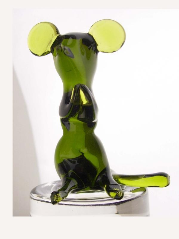 Praying mouse Paperweight / glass mice /  vintage blown glass / green glass mouse / whimsical gift /  novelty gift / handblown figurine