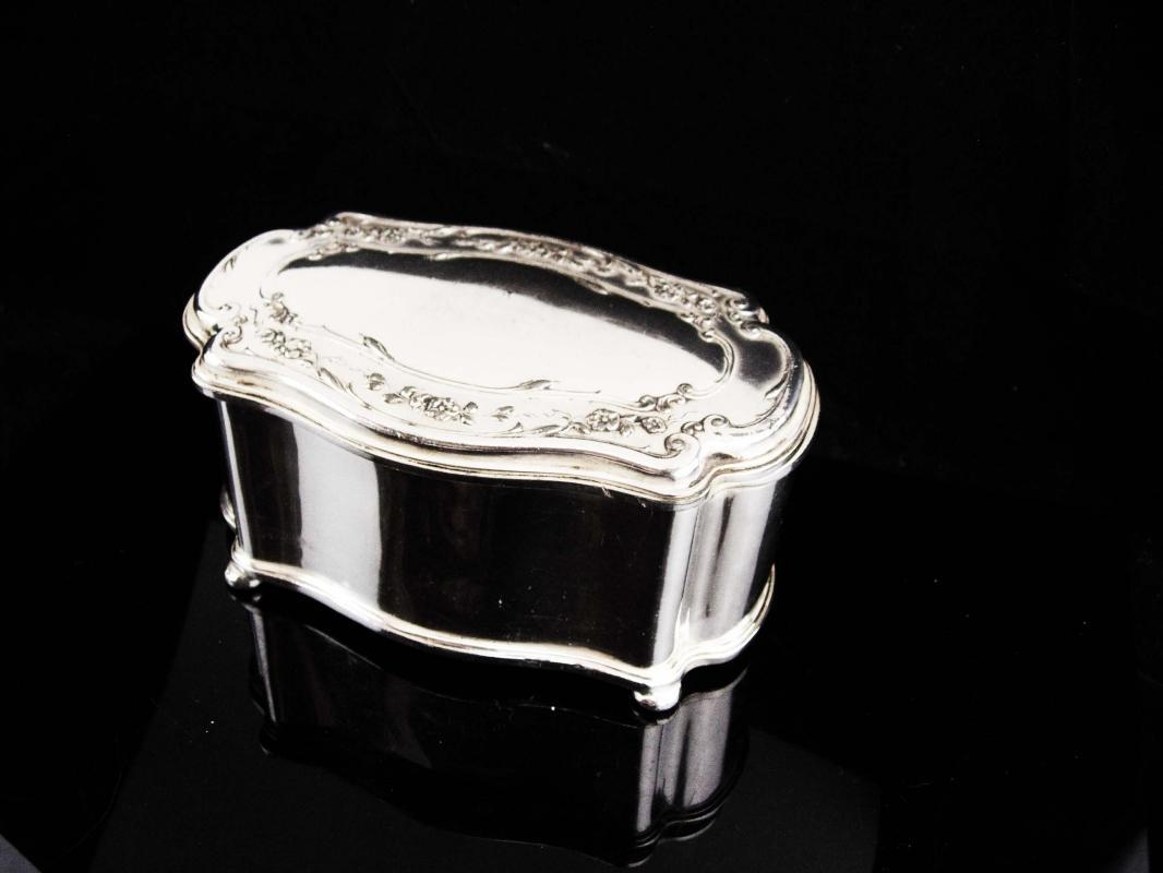 Antique Jewelry casket / Large Victorian box /Reed & Barton / silver footed jewelry case / Wedding gift / velvet lined Trinket box / Vanity