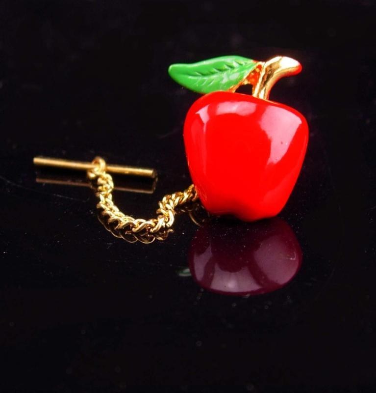 Red Apple Tie Tack /  Snow White Poison prop / Teacher gift / chef novelty item /  Shirt Accessory mans jewelry / healthy lifestyle