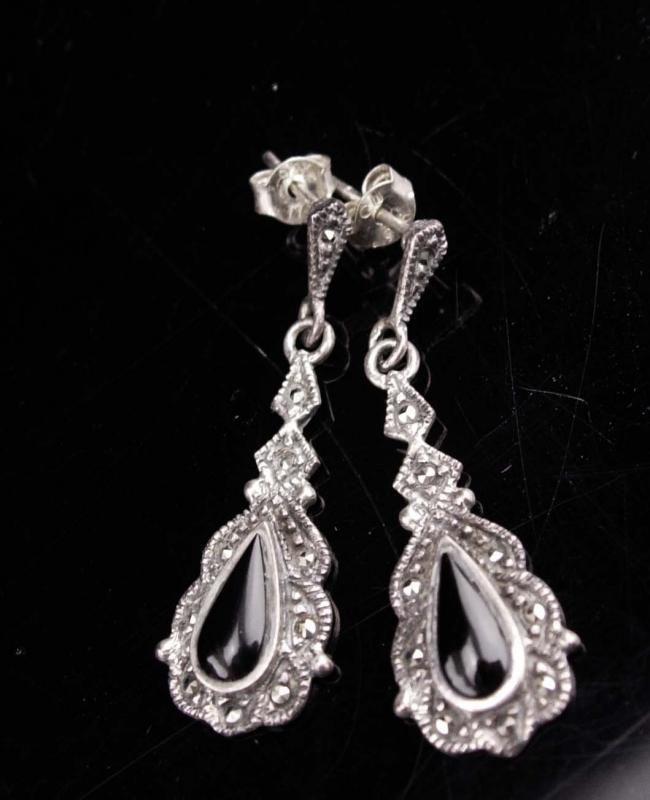 Victorian drop Earrings / Vintage  Sterling Silver Dangle set / Black marcasite teardrops / enamel Pierced earrings /   Anniversary gift