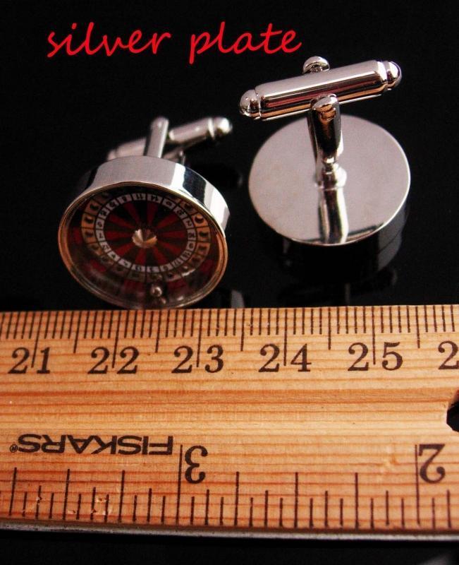 Roulette Wheel Cufflinks / It  SPINS / Casino Cufflinks / Vintage Gamber gift /  Mechanical vintage silver cufflinks / Lucky Number