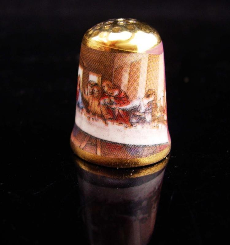 Vintage Thimble / The Lord's supper / Porcelain signed thimble / religious gift / Christian thimble / womens gift