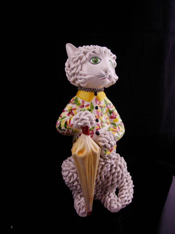 Vintage Parisian cat / Capodimonte spaghetti porcelain / Whimsical Cat / rhinestone collar / porcelain umbrella / veterinarian petsitter gift