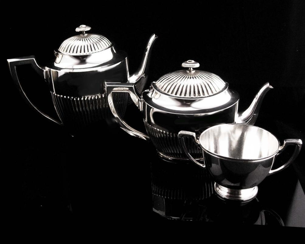3 piece Antique Tea set / Art deco tea set / 1900's Victorian Silver Tea service / Forbes hinged teapot / signed silver / Creamer Sugar hpns