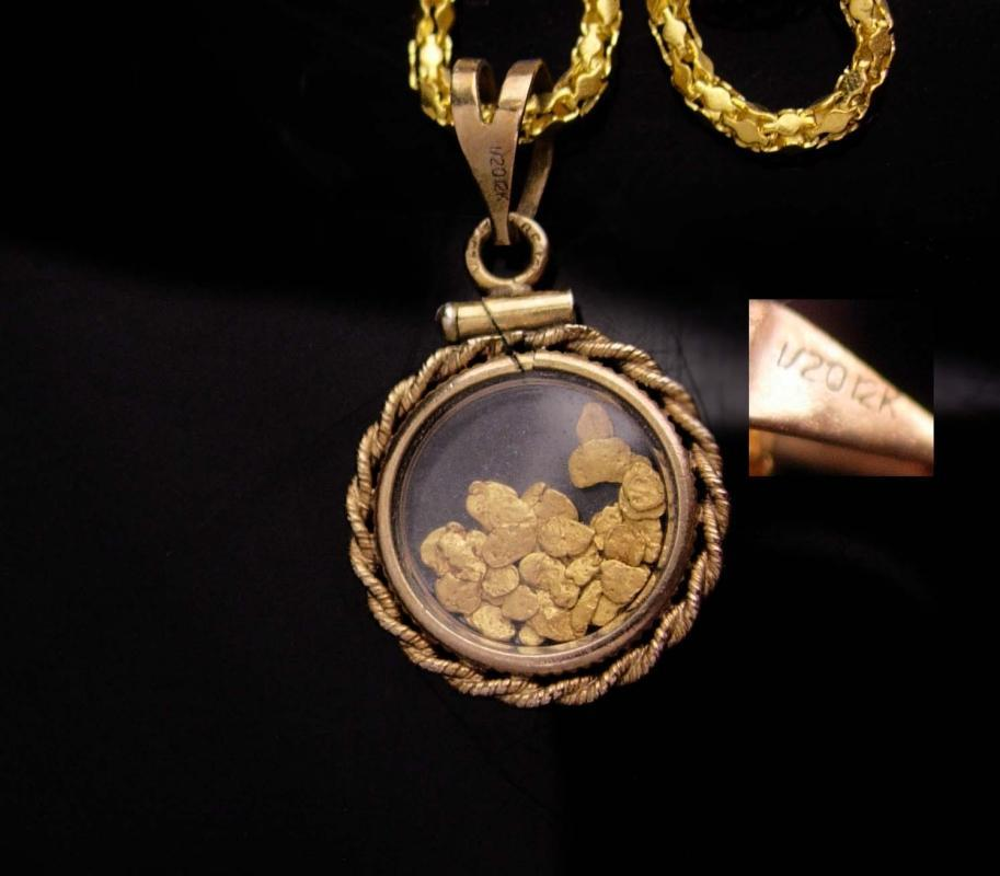 Gold miner locket necklace / Genuine gold flakes pendant / vintage 2 sided gold filled glass necklace / mens womens jewelry