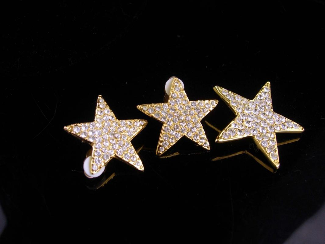 Vintage Star Earrings set / rhinestone star brooch / mystical jewelry / goddess set / valentines day gift / gold clip on earrings / diva set