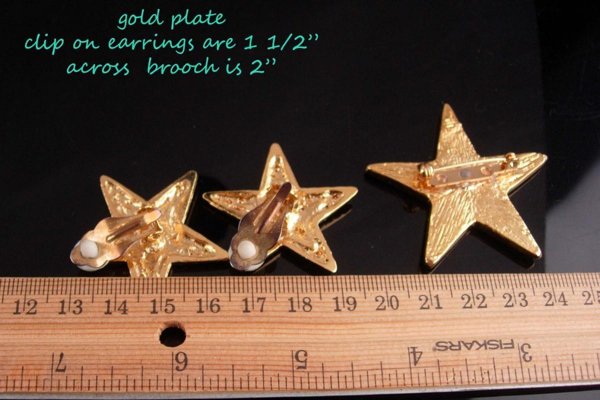 Vintage Star Earrings set / rhinestone star brooch / mystical jewelry / goddess set / valentines day gift / gold clip on earrings / diva set