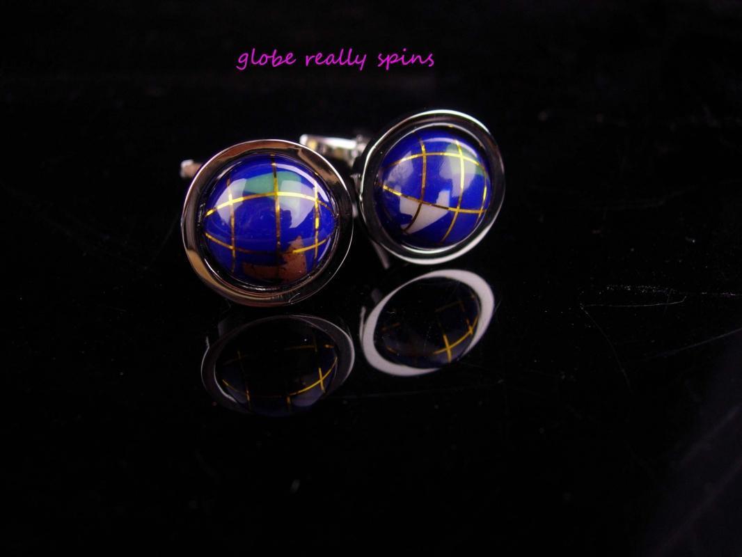 Spinning Globe cufflinks / Vintage enamel world earth / History professor / Traveler gift / silver Sweetheart gift / Missing you