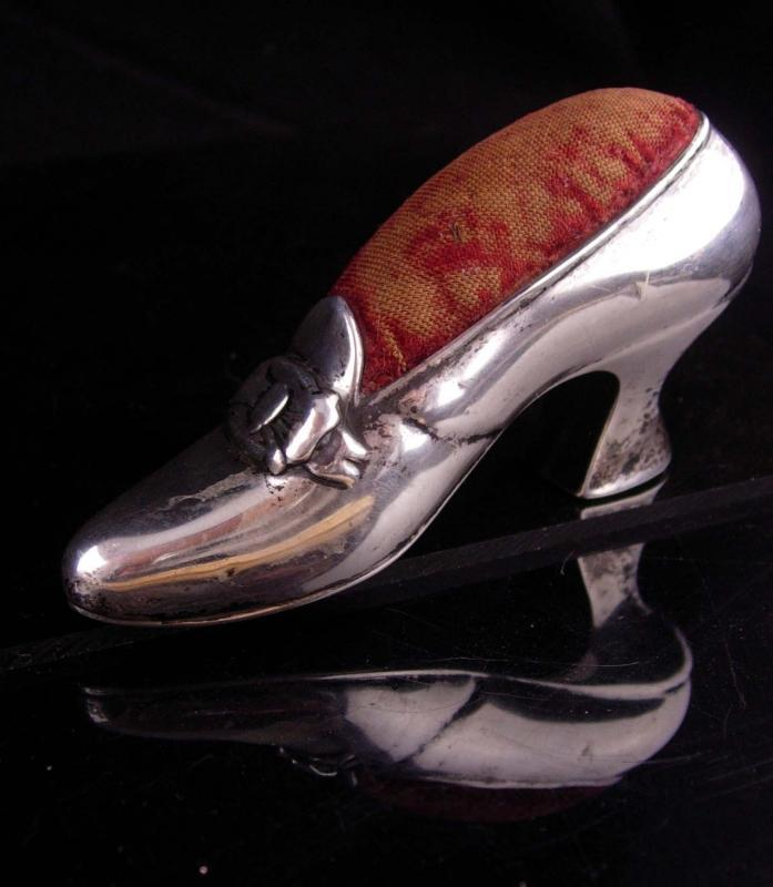 Antique Gorham Sterling Silver Shoe / vintage Pin Cushion / Birthday gift  / anniversary / gift for mom / mothers day / New baby boy