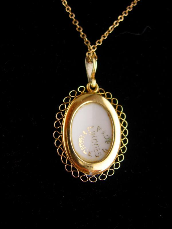French necklace / Victorian cameo portrait pendant/ Limoges cameo / gold filled krementz / wedding jewelry / anniversary gift