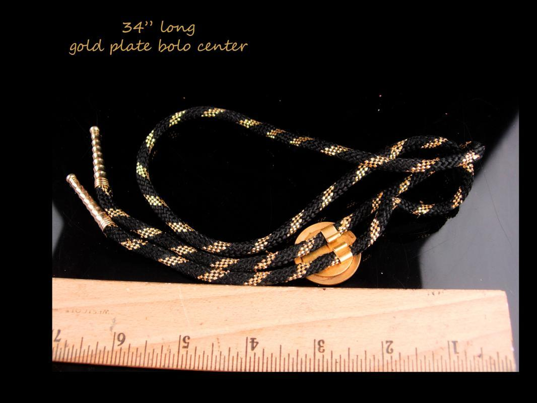 Fancy Gold stripe Bolo / Cowboy Indian / Rodeo rider / eagle Biker gift / Great Seal of Michigan / I will defend / coat of arms