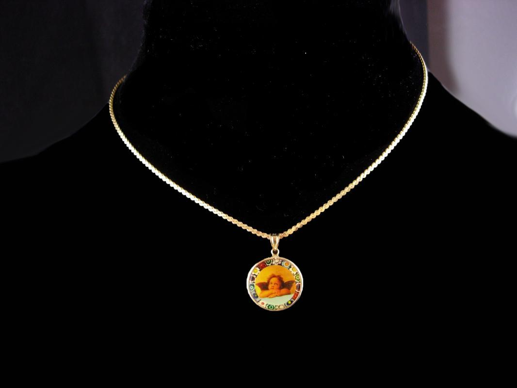 14kt Gold Angel necklace / Millefiori victorian cherub / vintage Fine Estate Jewelry / Friendship gift / anniversary gift