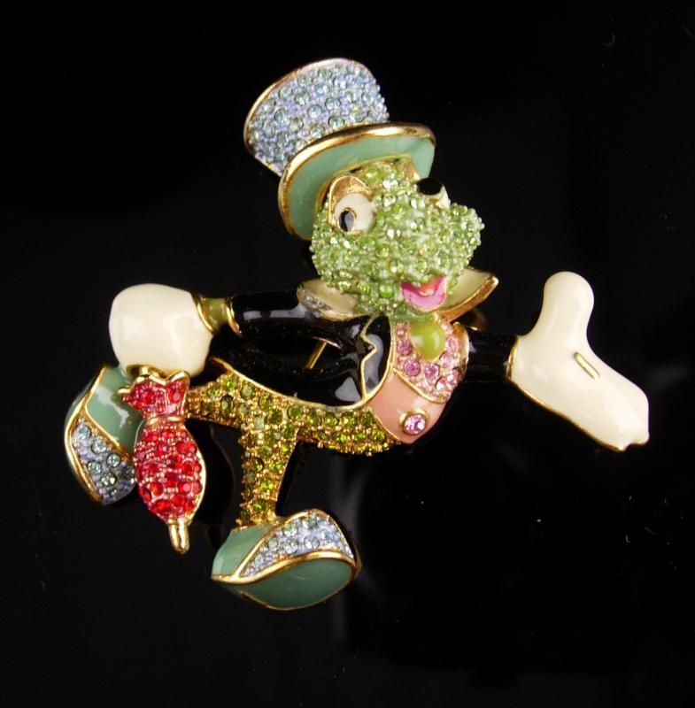 Vintage Cricket Brooch / Arribas Brothers enamel pin / over 100 swarovski rhinestones / insect Grasshopper / bug  Good luck mens lapel pin