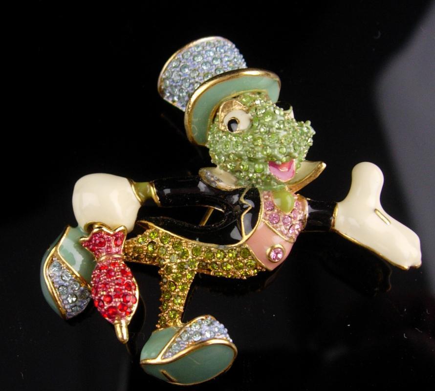 Vintage Cricket Brooch / Arribas Brothers enamel pin / over 100 swarovski rhinestones / insect Grasshopper / bug  Good luck mens lapel pin