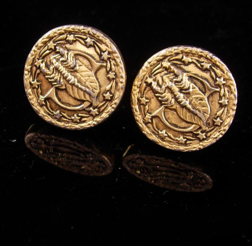 SCORPIO Cufflinks / Vintage mens gift / gold Horoscope set /  October November birthday /  Astrology / anniversary gift / scorpion stars