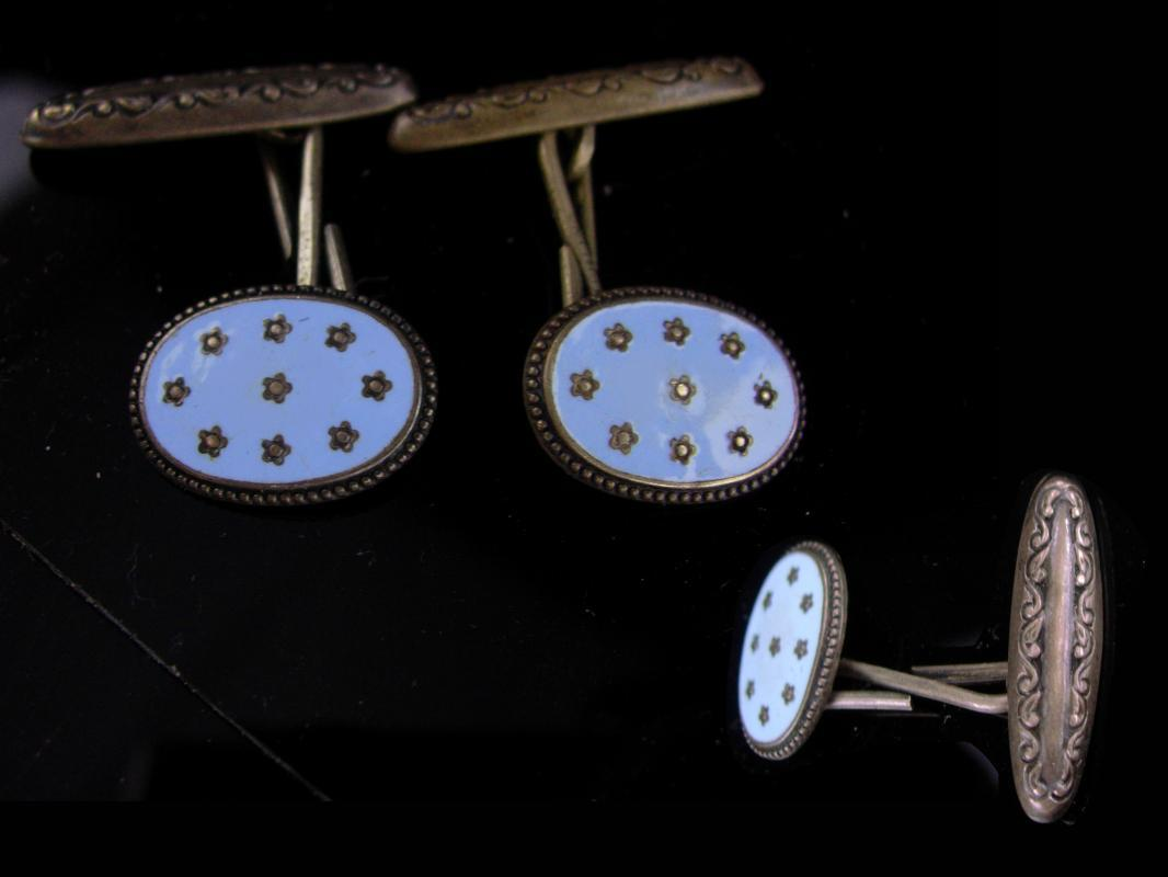 Antique sterling cufflinks / victorian blue stars / civil war era / silver Celestial Jewelry / astronomy / astronomer gift / political gift