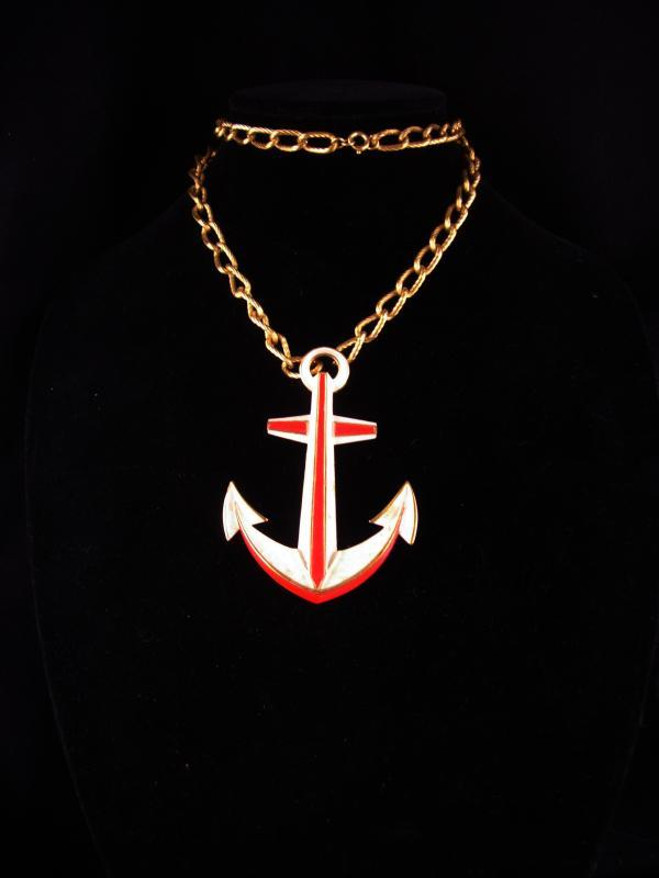 Trifari Navy Anchor necklace / LARGE Vintage Military pendant / Red White Blue Patriotic gift / sweetheart nautical jewelry /wife of sailor