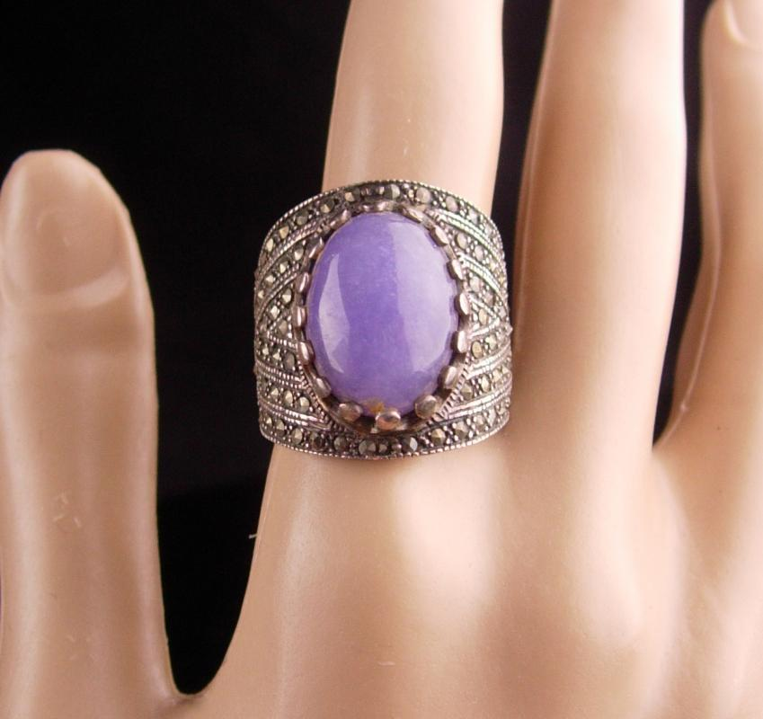 Wide Sterling Ring / lilac Jade Ring / size 9 / marcasite silver / ladies fine jewelry / Lavender purple / aquarius birthstone february
