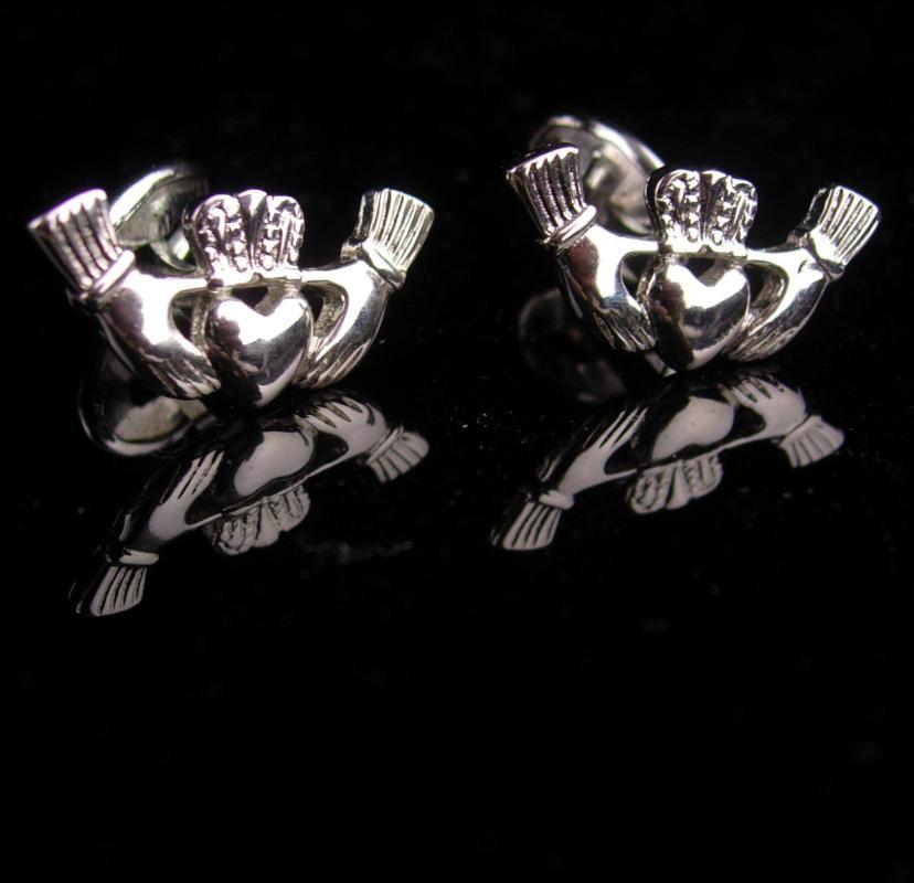 Vintage IRISH Cufflinks / silver Claddagh set / Ireland gift / Celtic wedding / Heart hands / Friendship gift / celtic cufflinks