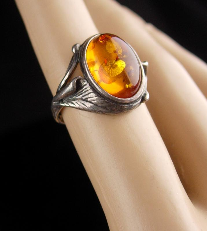Vintage art nouveau Ring / sterling silver Amber / raised fancy setting / signed K / heirloom jewelry/ Mothers Day / Birthday size 5 1/2
