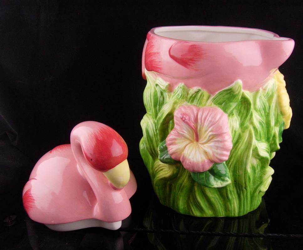 Pink Flamingo Cookie Jar / Big pink bird / storage container / bird watcher gift / Candy Container / retro kitchen / gay interest