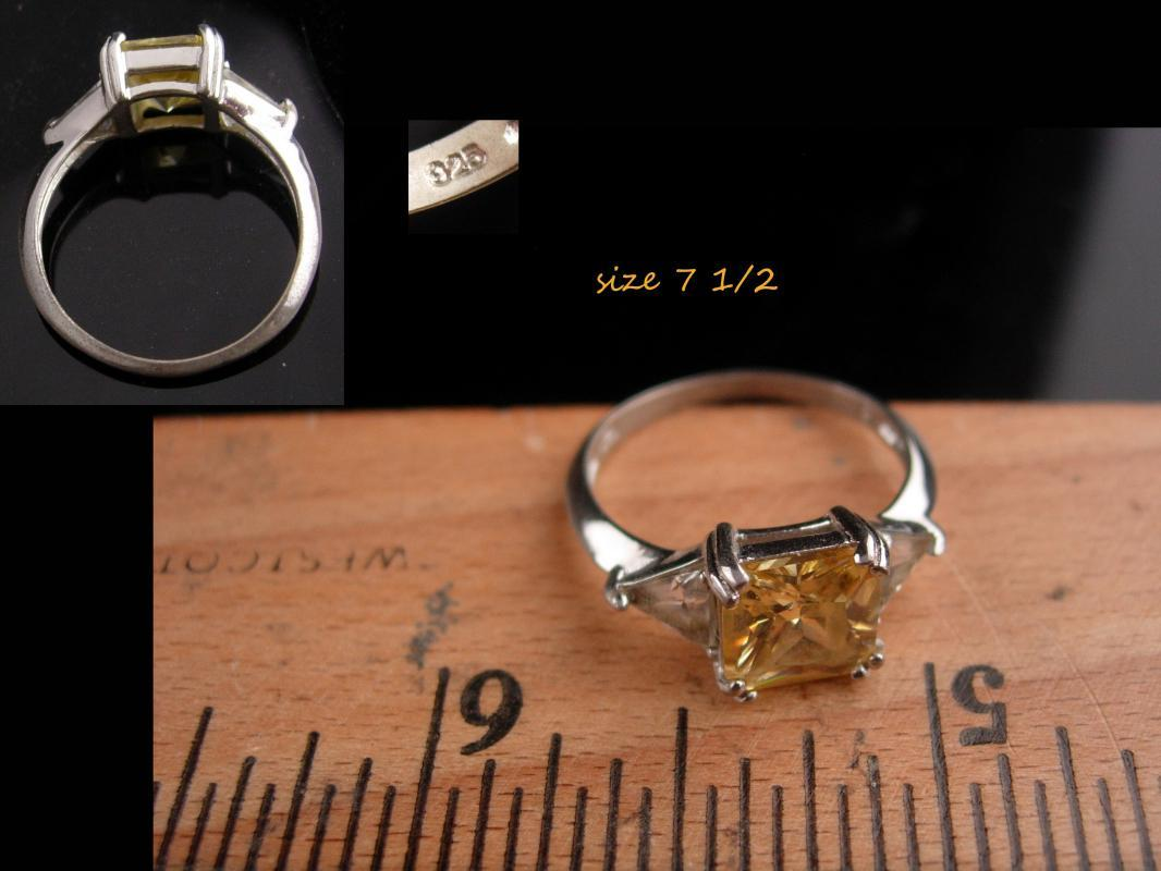 Citrine engagement Ring / Vintage Sterling Silver / Lemon stone /  Size 7 1/2 / 13th 17th anniversary November gemstone sagittarius scorpio
