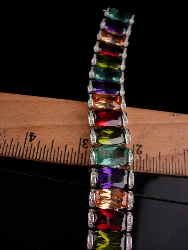 Vintage Statement bracelet / Princess Borghese signed / 240 stones / silver rhinestone bracelet / designer jewelry /