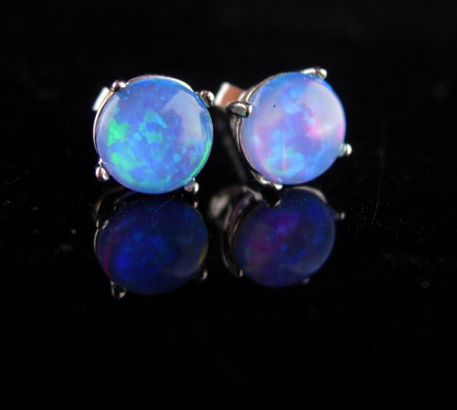 VINTAGE Opal earrings / sterling studs / October birthstone / faux opal / Aries Libra Scorpio Pierced silver art deco Cupid stone
