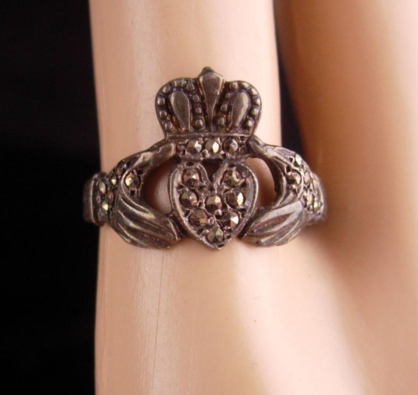 Vintage Sterling Claddagh Ring / Irish silver marcasite wedding ring / Ireland Celtic Heart / Loyalty Friendship size 7 1/2