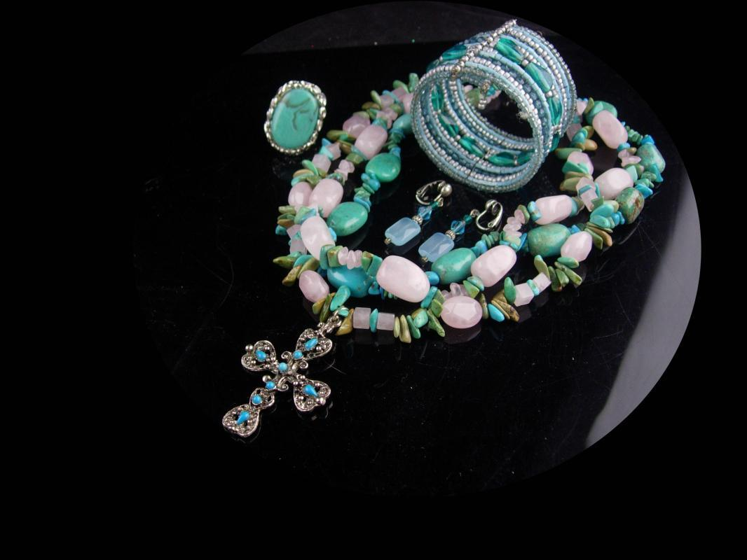 Chunky Turquoise Necklace set / hippie jewelry / Gothic cross / gypsy bracelet /  indian design bracelet & earrings / Hand made gift for her