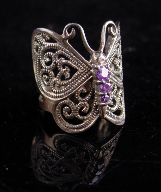 Magical Butterfly Ring / sterling amethyst ring / Fairy goddess jewelry / 6th Wedding anniversary / february birthstone / silver wrap ring
