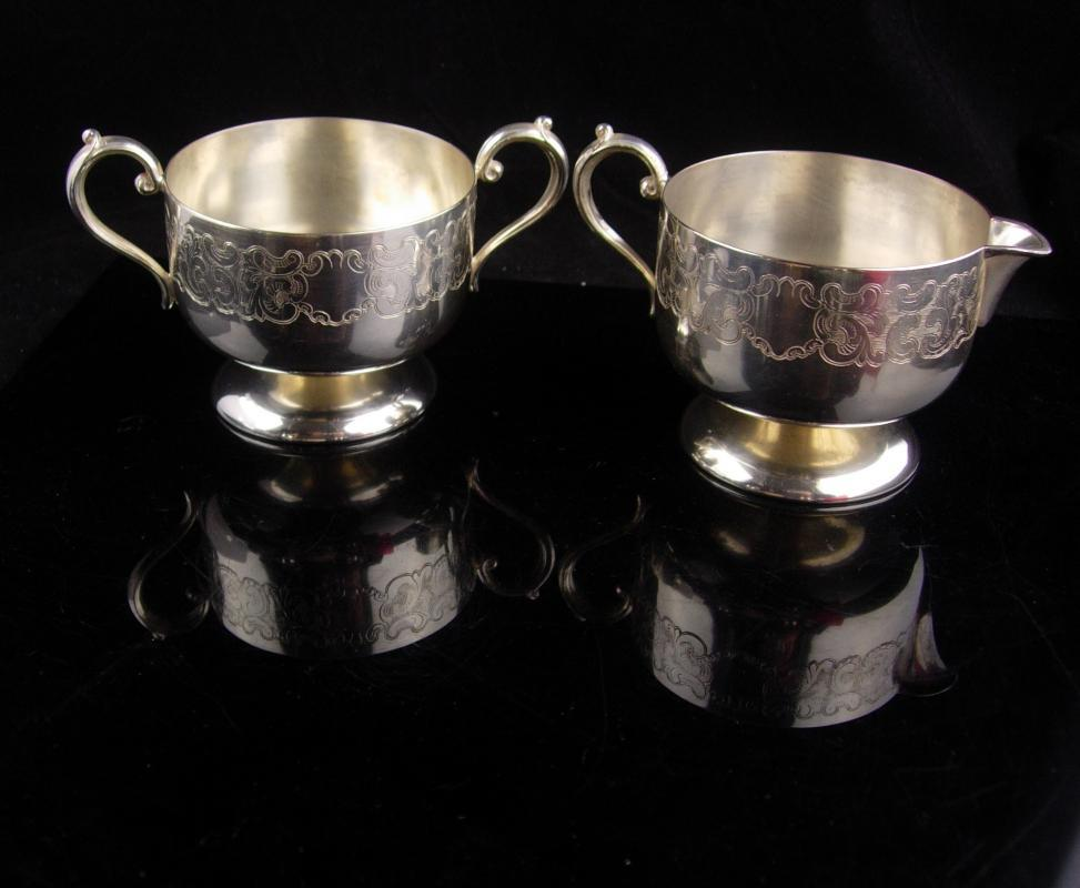 2 piece Antique Tea set / Engravable Cremer sugar  / ornate etchings / fancy vintage serving set / wedding gift / Empire ESC silver plate