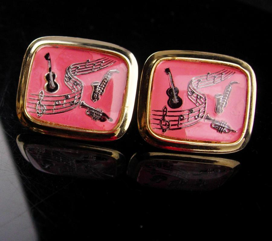 Pink Music cufflinks / Extra large set / retro music lover / Vintage Music cufflinks / Musical Notes Cufflinks / Vintage gold pink Set