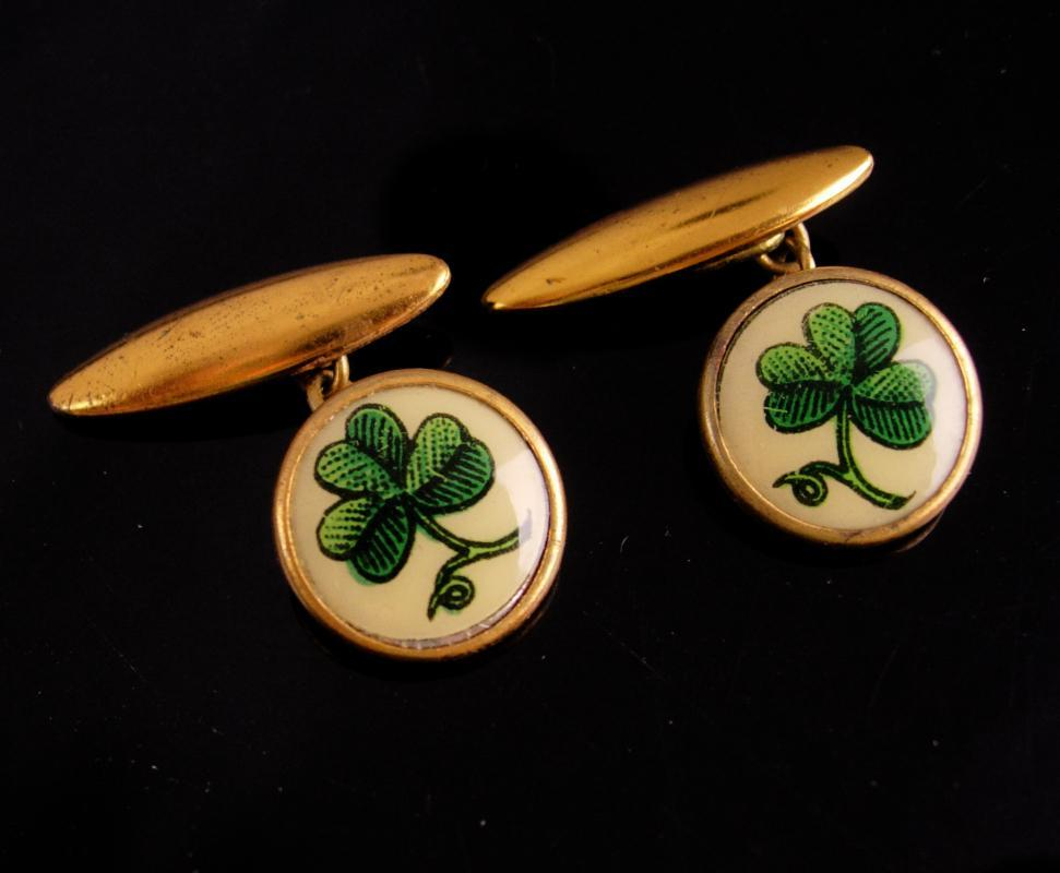 Antique Victorian Cufflinks / green Clover / Irish SHAMROCK / Made in England / Good Luck / Jewelry green Ireland wedding gentleman jewelry