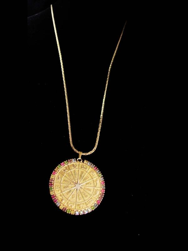 Gorgeous Horoscope necklace / vintage rhinestone coin pendant / sundial  / LARGE  gold zodiac / February Aquarius birthday / 30