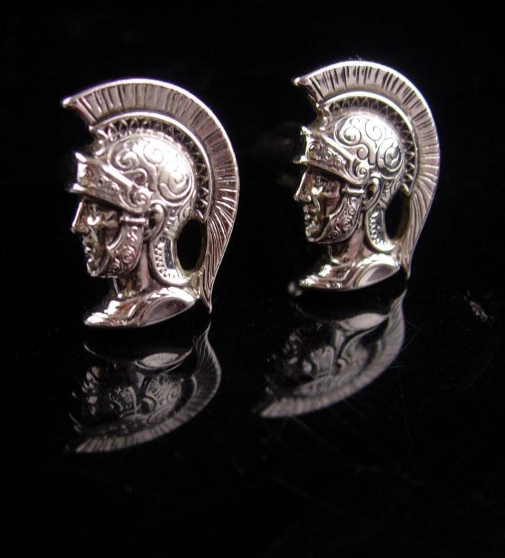 Medieval wedding set  / HICKOK CENTURION cufflinks / Roman Cufflink set / Vintage silver Knight / helmet Plume / knight in shining Armor