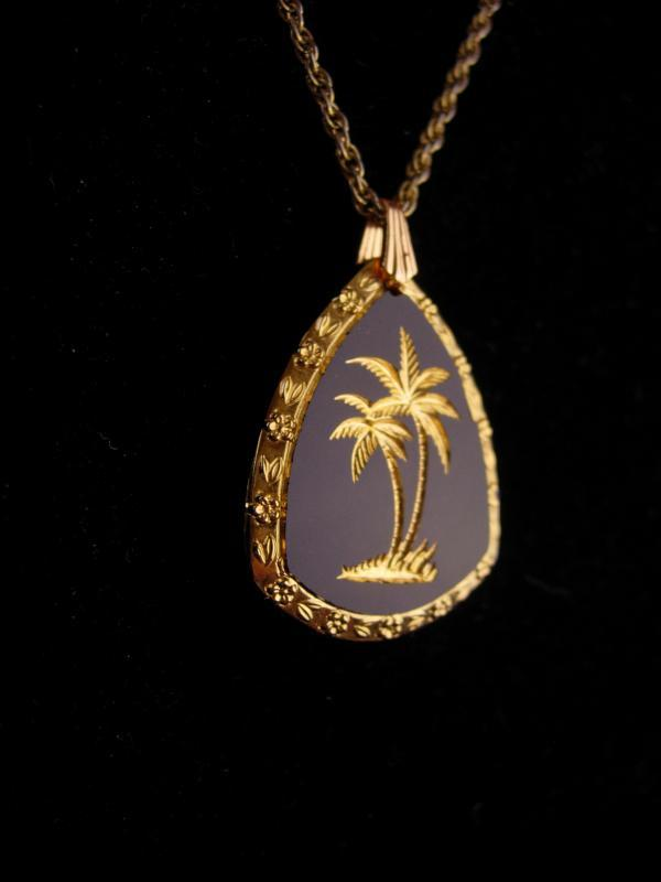 Vintage Hawaii necklace / Glass palm tree/black gold glass  pendant / nautical gift / Surfer Hawaiian / religious reverse carved necklace