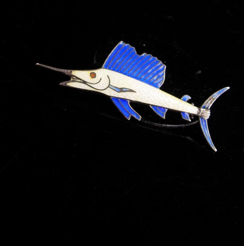 LARGE Swordfish Brooch / sterling Vintage Fishing pin / silver Fisherman gift /  Nautical retirement / anniversary / groomsmen fish gift
