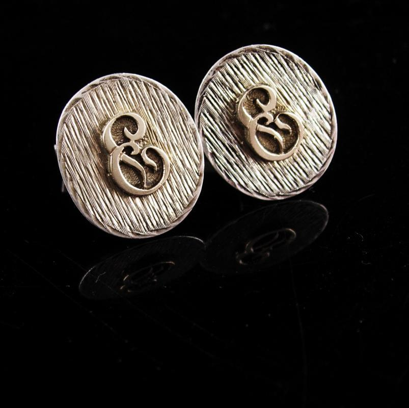 Sterling Monogrammed Cufflinks / Vintage Initial E set / personalized letter jewelry / Groom gift / father of bride / silver gift for boss