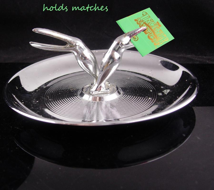 Mid Century Ashtray / Silver Toucan tray / Match holder / Art deco table accessory / Bird gift / cufflinks tray / tropical gift