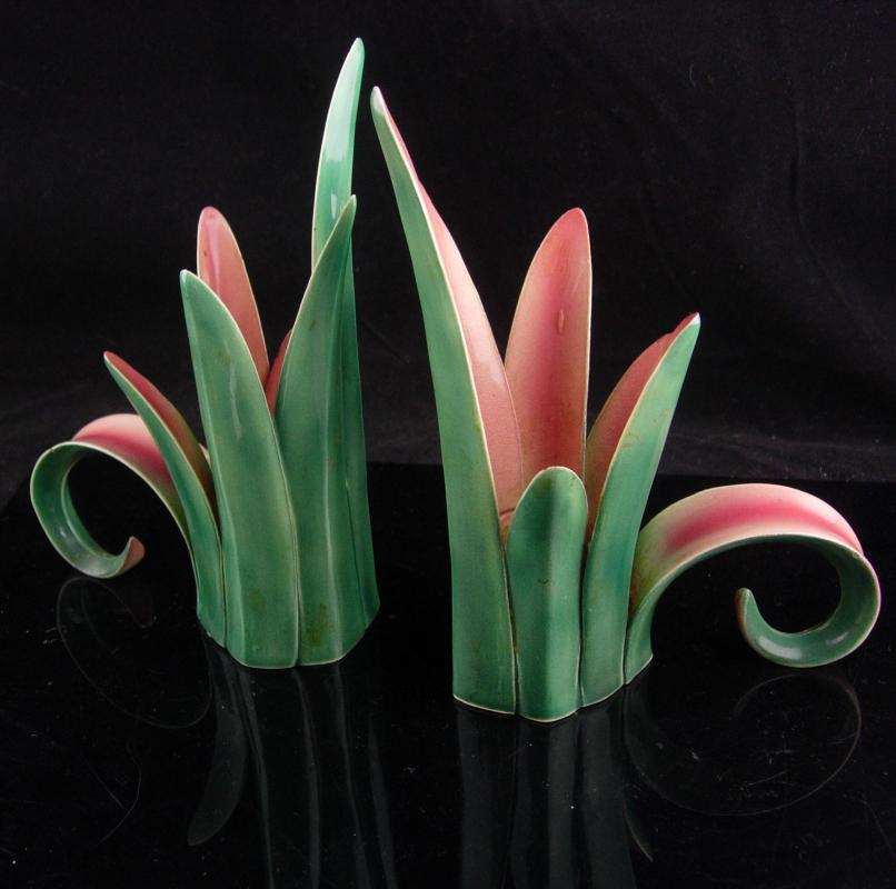 Art deco candle holders / Vintage hallmarked nouveau pink green / pottery tulip / Wedding Gift / Candlesticks / danish modern /  home decor