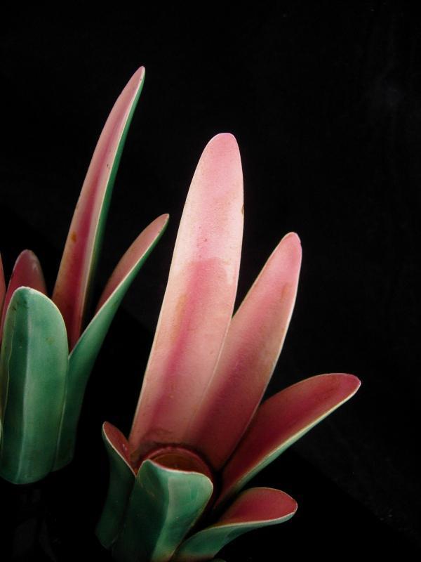 Art deco candle holders / Vintage hallmarked nouveau pink green / pottery tulip / Wedding Gift / Candlesticks / danish modern /  home decor